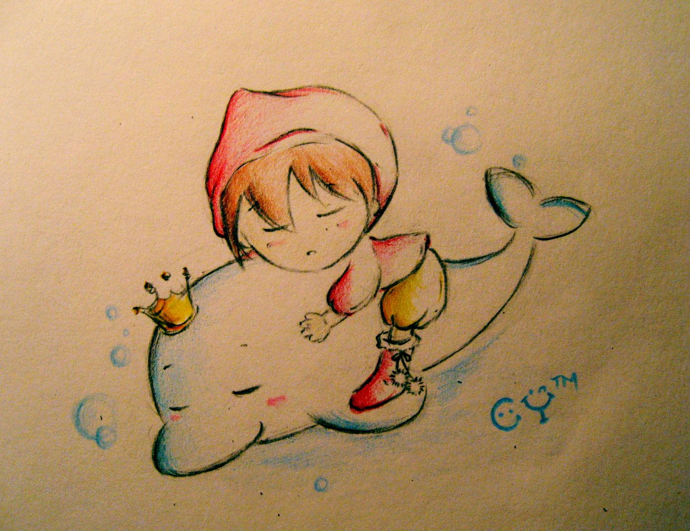 彩色铅笔画《畅游水世界》