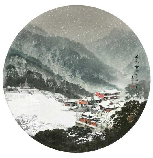 千峰古寺暮飞雪 作品拍摄于辽宁省千山——中国古建筑摄影大赛