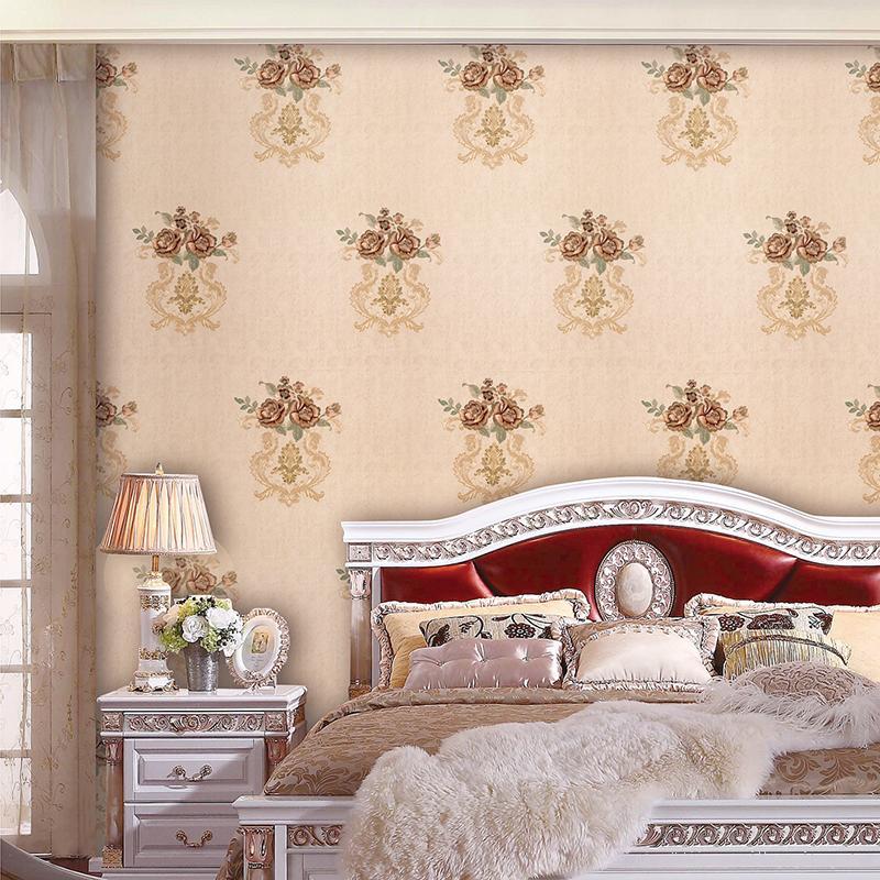 古埃伦墙布欧式无缝无纺布壁布温馨卧室客厅背景壁布刺绣圣花
