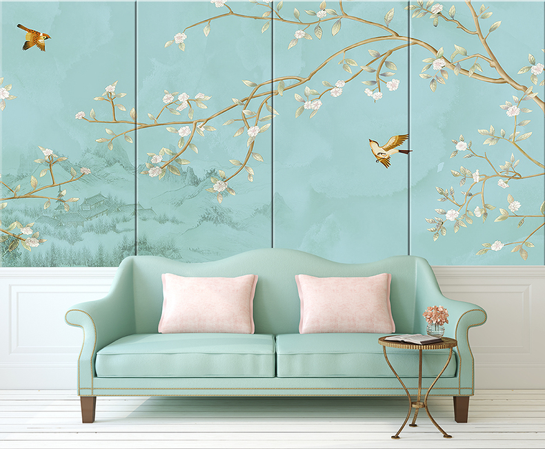 新品真丝刺绣背景墙硬包客厅卧室沙发床头软包背景墙定做