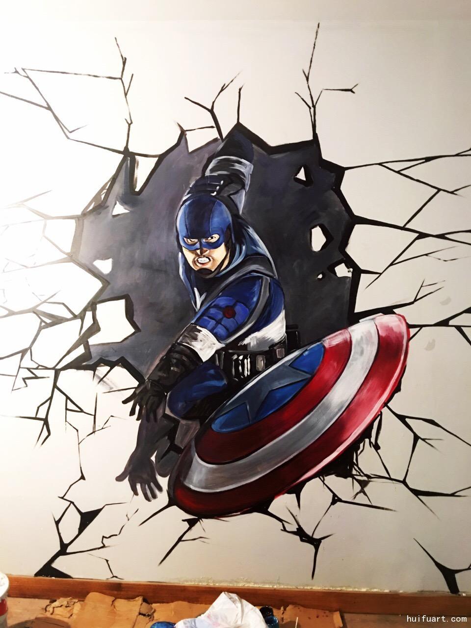 绘夫手绘图集 3d立体壁画/地画 3d立体画之美国队长