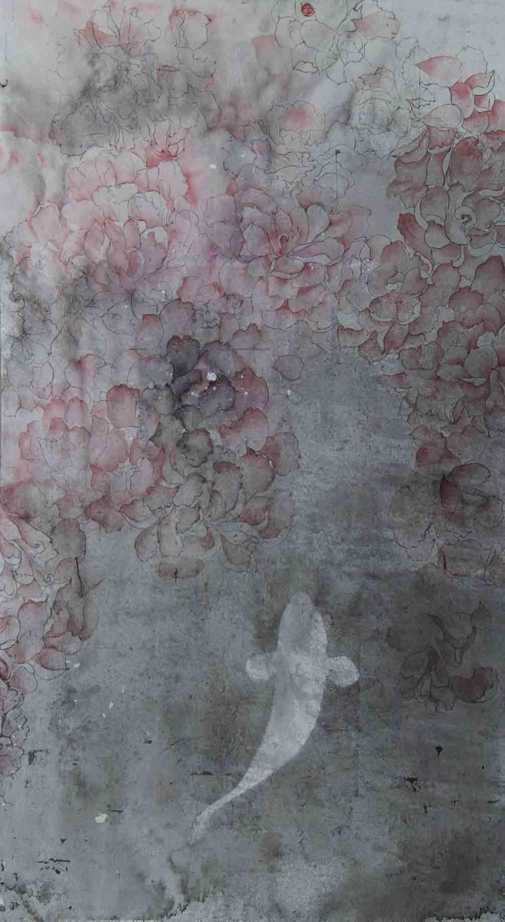 四月天之鱼60x36绢本水墨