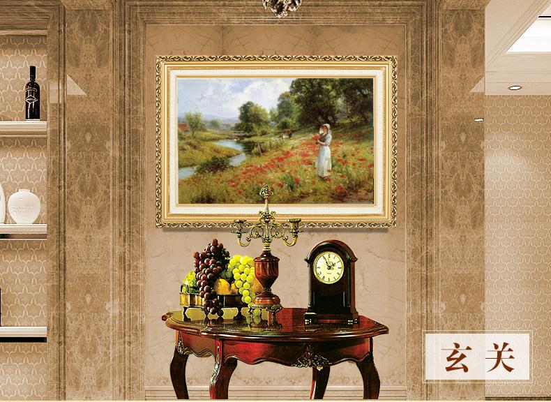 手绘临摹欧洲古典油画横幅挂画现代简约装饰画