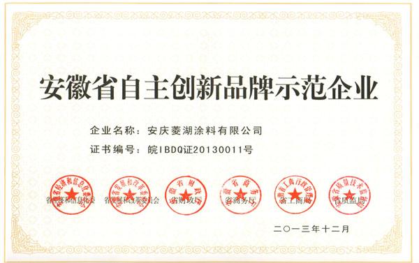 安徽省自主创新品牌示范企业