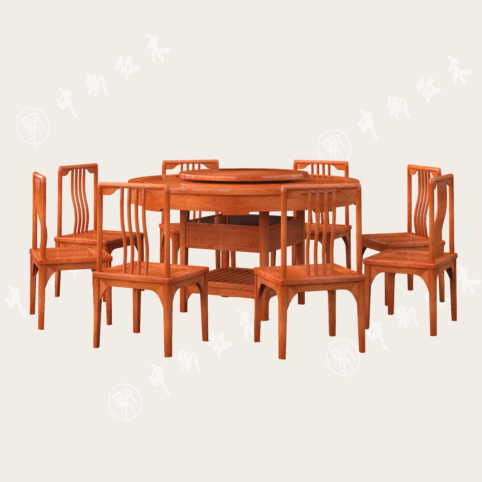 新中式 缅甸花梨圆餐桌七件套