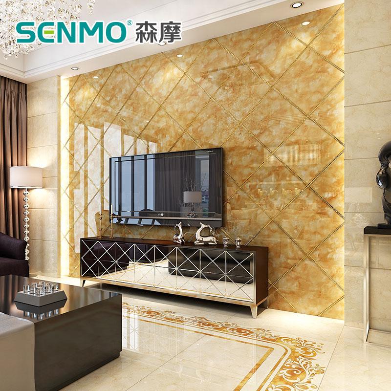 森摩 厚微晶石电视背景墙800瓷砖地砖欧式客厅卧室电视墙地板砖