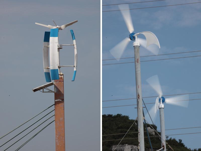 风光互补路灯一般以风力发电为主,以太阳能发电为辅,因而数日阴雨天也