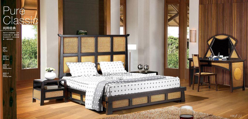 藤藝中式雙人床